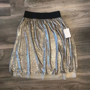 New Free People Gold Sparkly Holiday Skirt Size S
